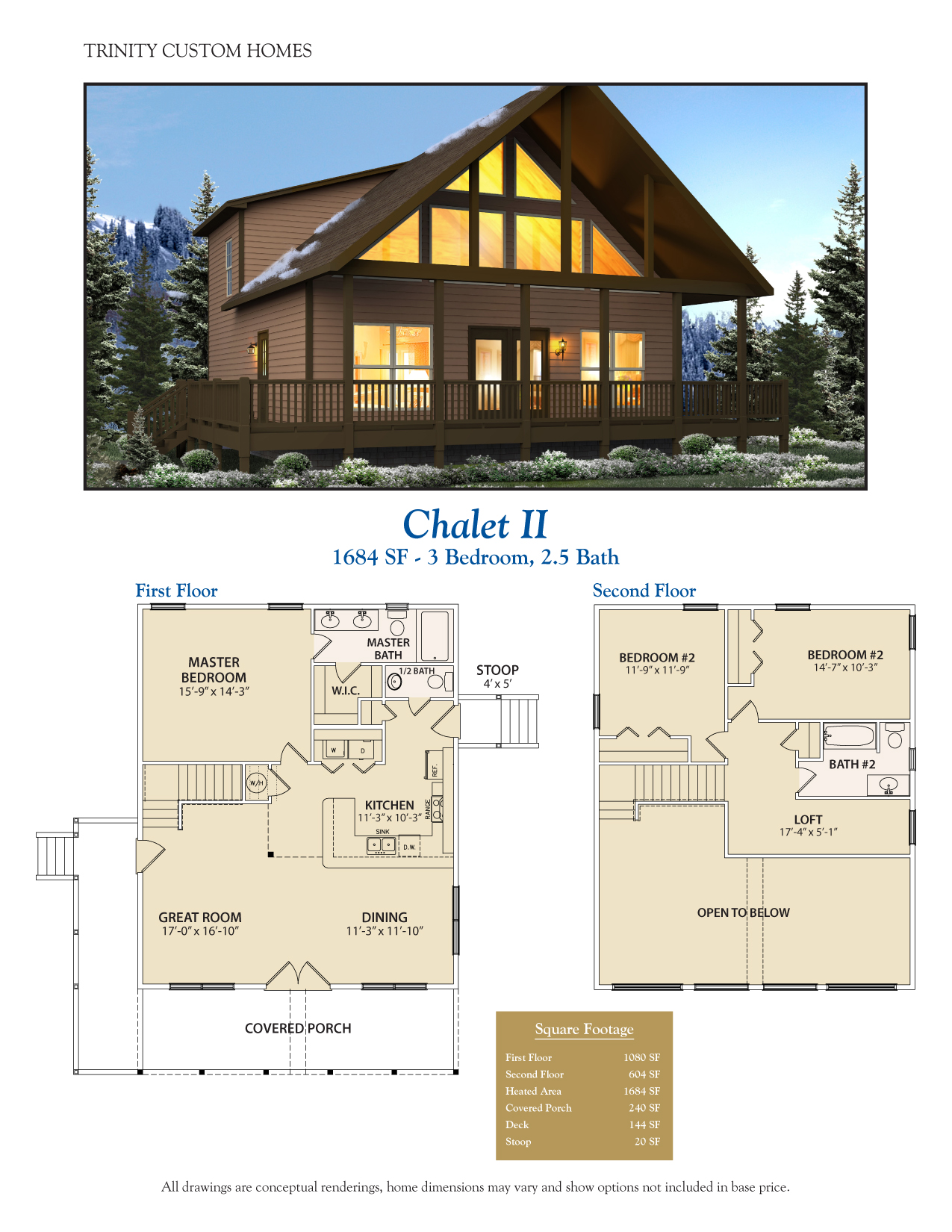 Floor plans trinity custom homes georgia for Chalet floor plans