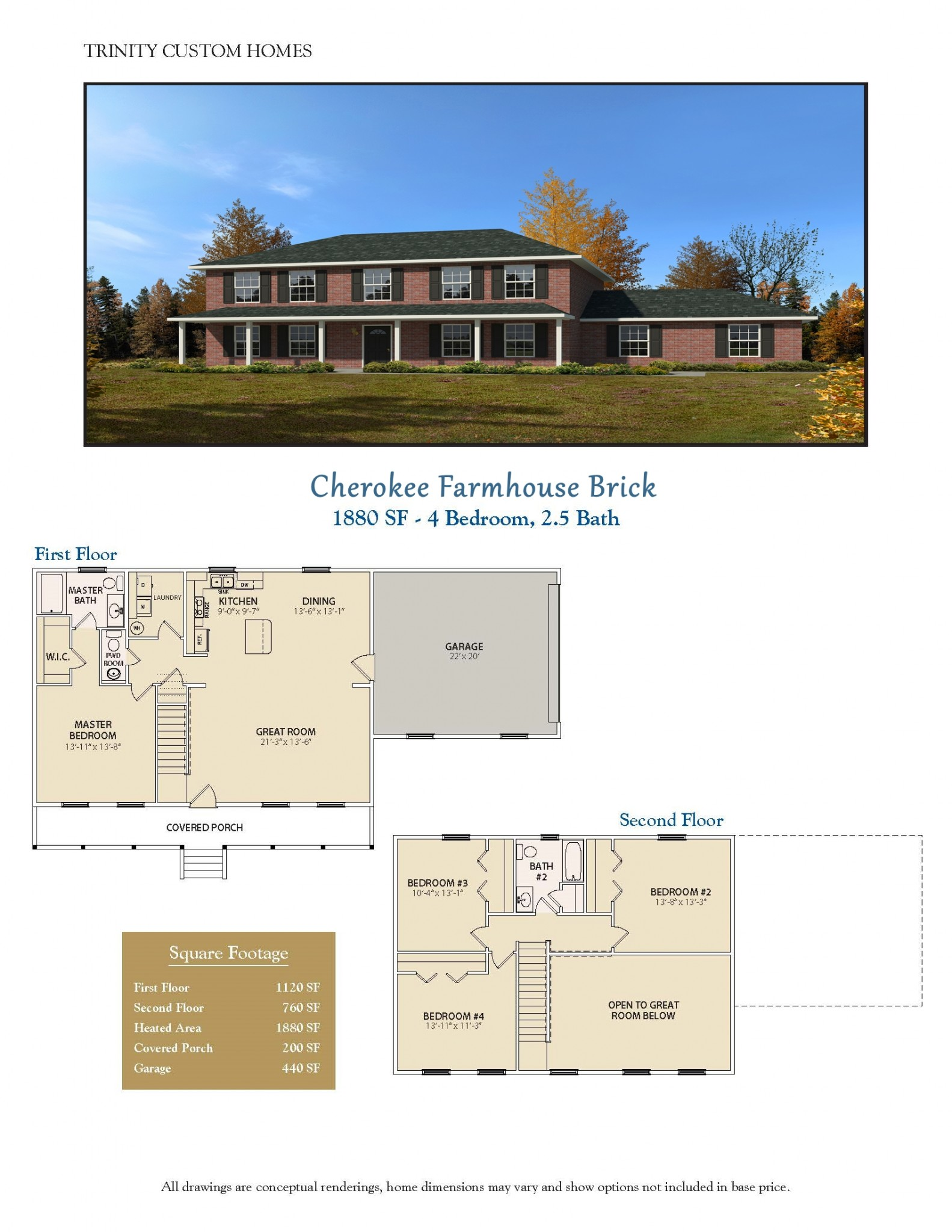 Floor plans trinity custom homes georgia for Custom farmhouse floor plans