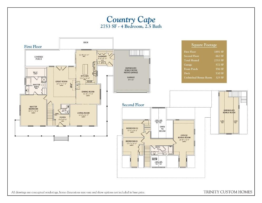 Floor plans for trinity custom homes for Custom built homes floor plans