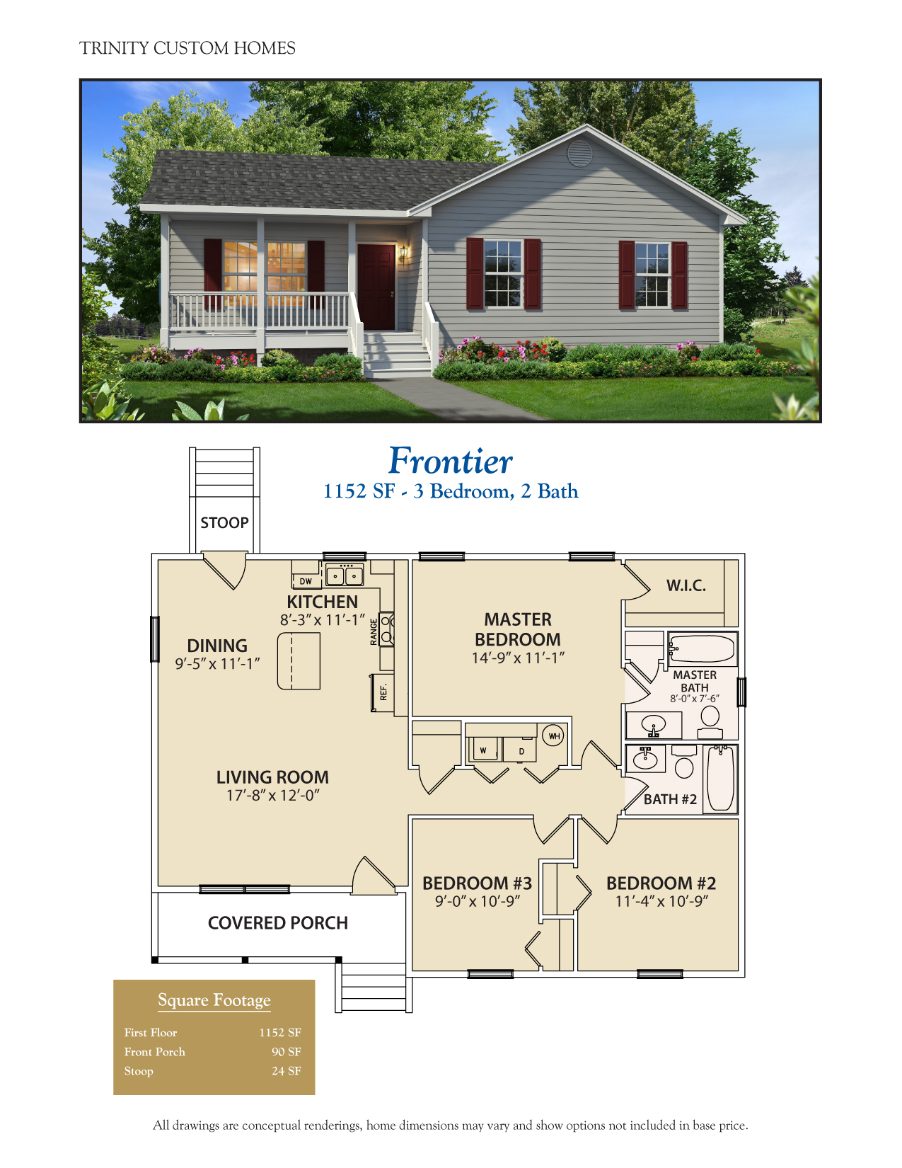 Frontier 2 on Custom One Story Homes Plans
