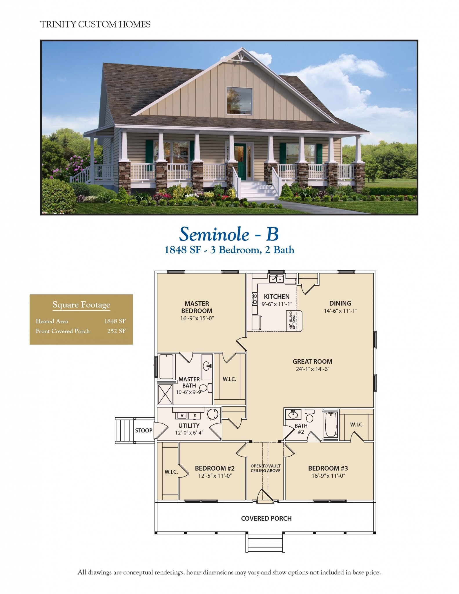 Seminole b welcome to trinity custom homes for Trinity homes floor plans