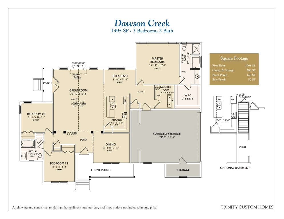 Dawson Creek on Custom One Story Homes Plans